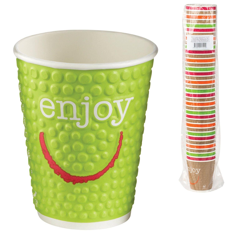 "HUHTAMAKI / Disposable cups ""ENJOY"" 200 ml paper single-layer, color printing, cold / hot, SET 37 pcs."