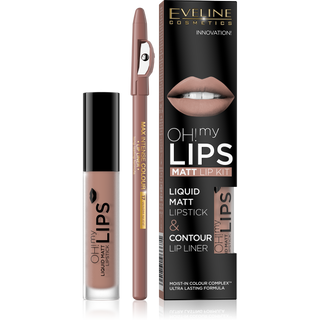Matte lipstick No. 01 series oh my lips; 4.5 ml + contour lip pencil 17-warm nude the max intense colour - set 1, Eveline