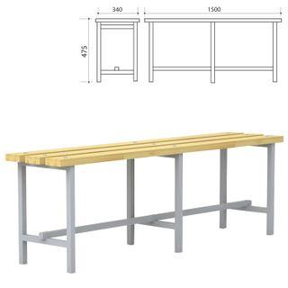 Locker room bench, 1500 x340 x475 mm, metal grey frame, seat tree