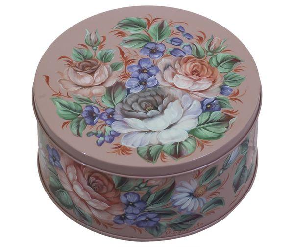Zhostovo / Round medium tin can, by Borisova O. 15x15x10 cm