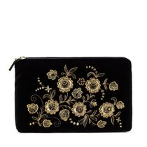Velvet cosmetic bag 'Spring mood' in black with gold embroidery