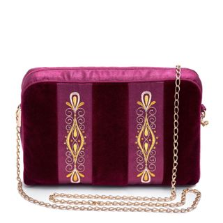 "Velvet clutch ""chance encounter"" red color with Golden embroidery"