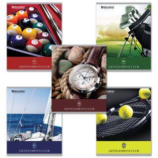 Notebook A5, 48 sheets, BRAUBERG IVF, cage, cardboard cover, CLUB GENTLEMEN