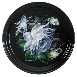 Zhostovo round tray black and white series with green leaves