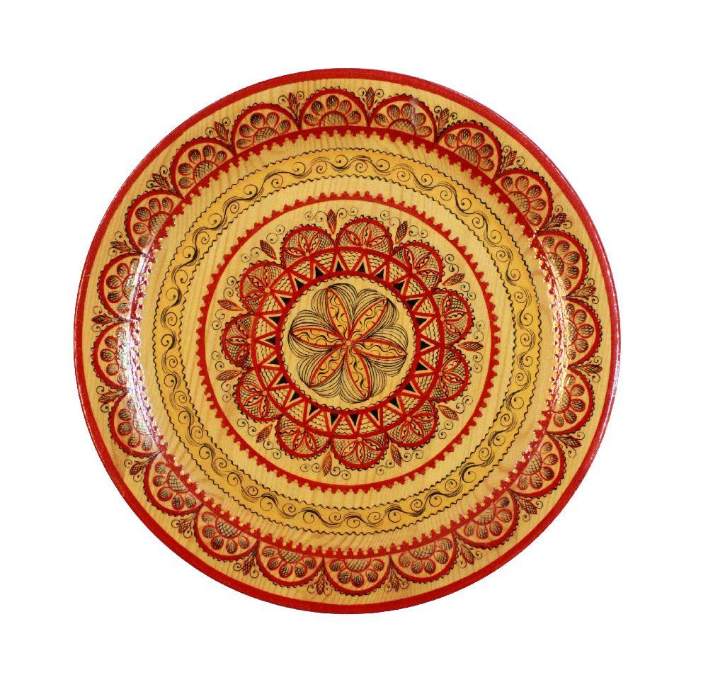 "Plate wooden ""Mezenskaya painting. Graphics"" 25 cm"