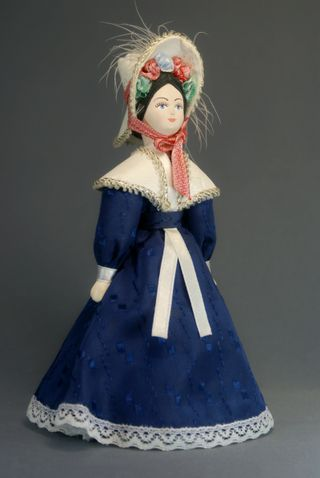 Doll gift porcelain. A young lady in a summer dress. The mid-19th century, Petersburg.