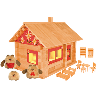 Designer Hut three bears with furniture, painting and wiring, 151 element, Pelsi