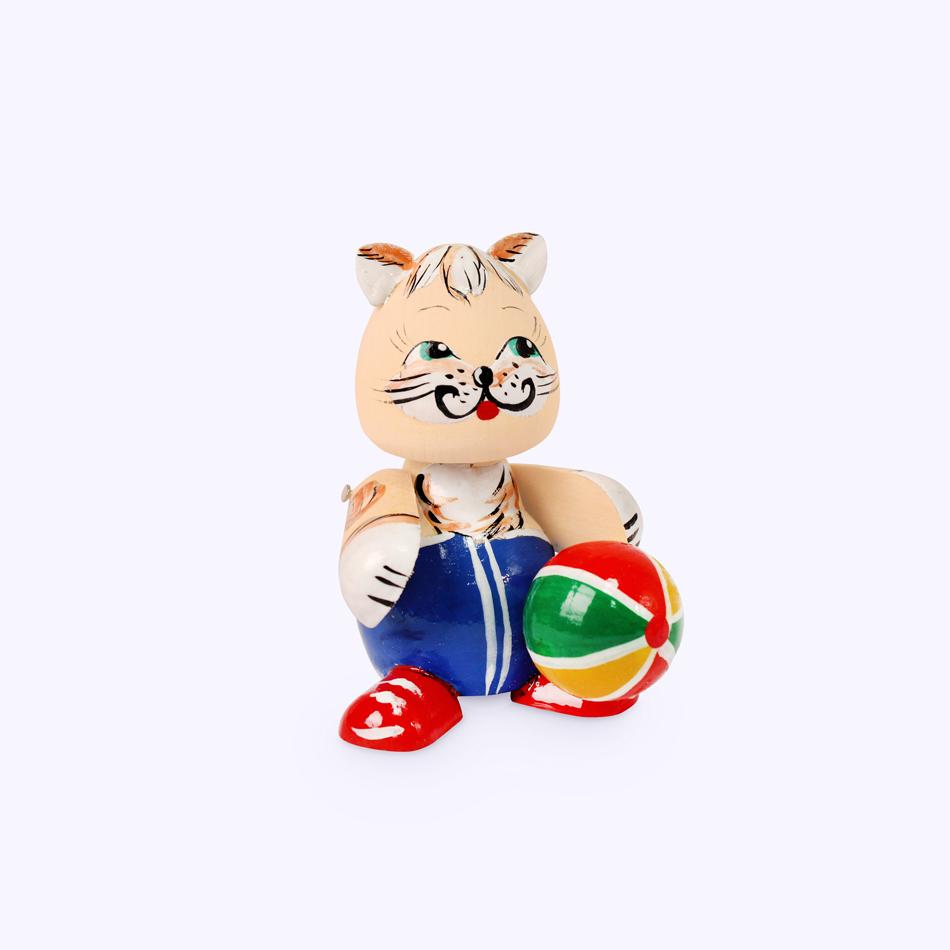 """Bogorodskaya toy / Wooden souvenir """"Cat football player"""", lathe"""