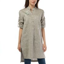 Women's blouse 'deion' gray with silk embroidery