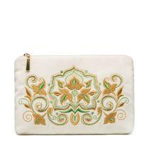 Velvet zip pouch 'Stone flower', Torzhokskiy seamstresses, white