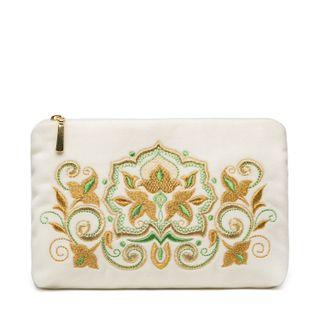 "Velvet zip pouch ""Stone flower"", Torzhokskiy seamstresses, white"