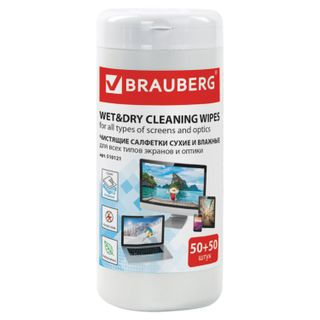 BRAUBERG / Dry and wet wipes for optical surfaces and monitors, in a tube 50 + 50 pcs.