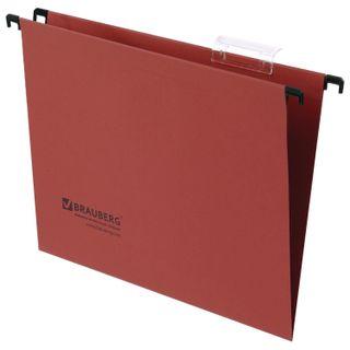 Hanging folder A4 (350х245 mm), up to 80 sheets, SET of 10 PCs, red cardboard, BRAUBERG (Italy)