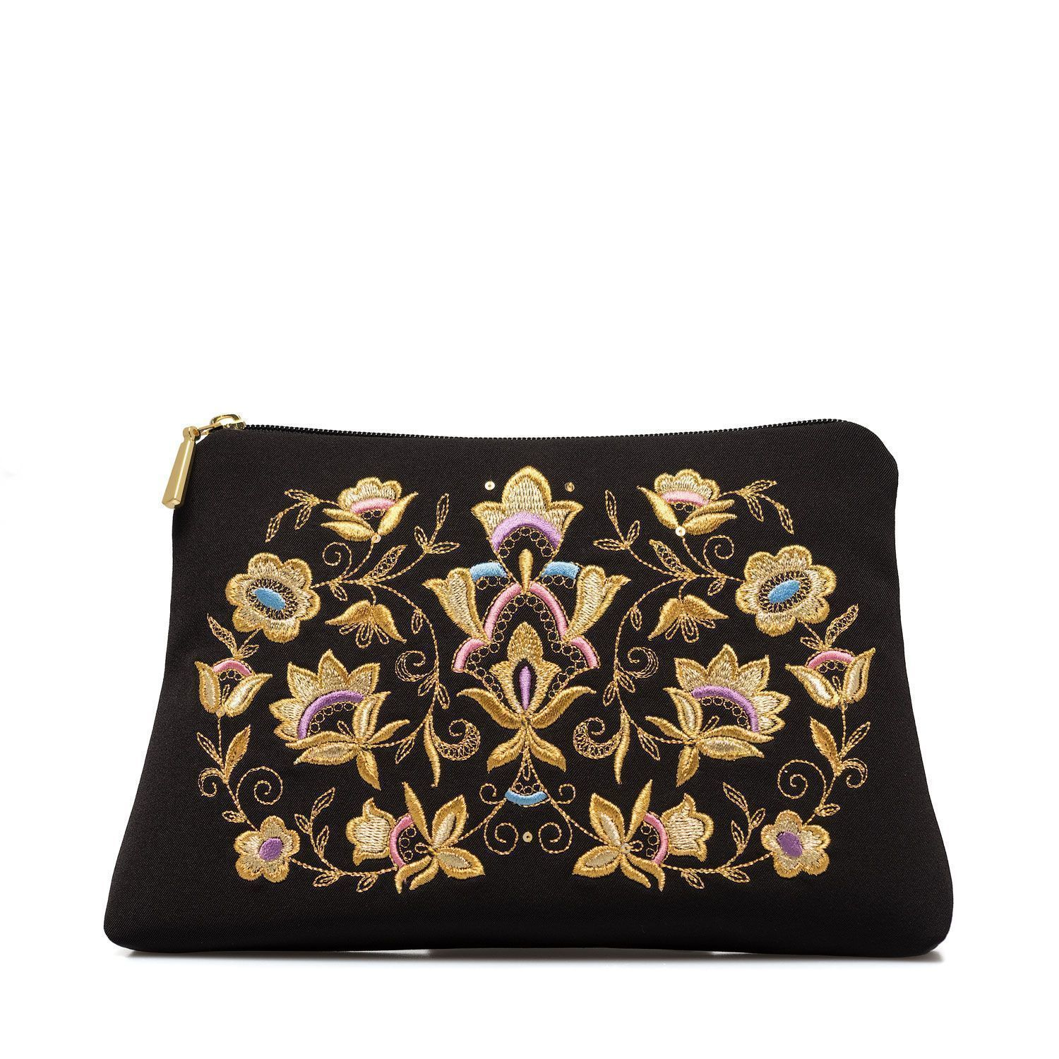 """Torzhok gold embroiderers / Black cosmetic bag with a zipper with embroidery """"Blossom"""" gold, handmade"""
