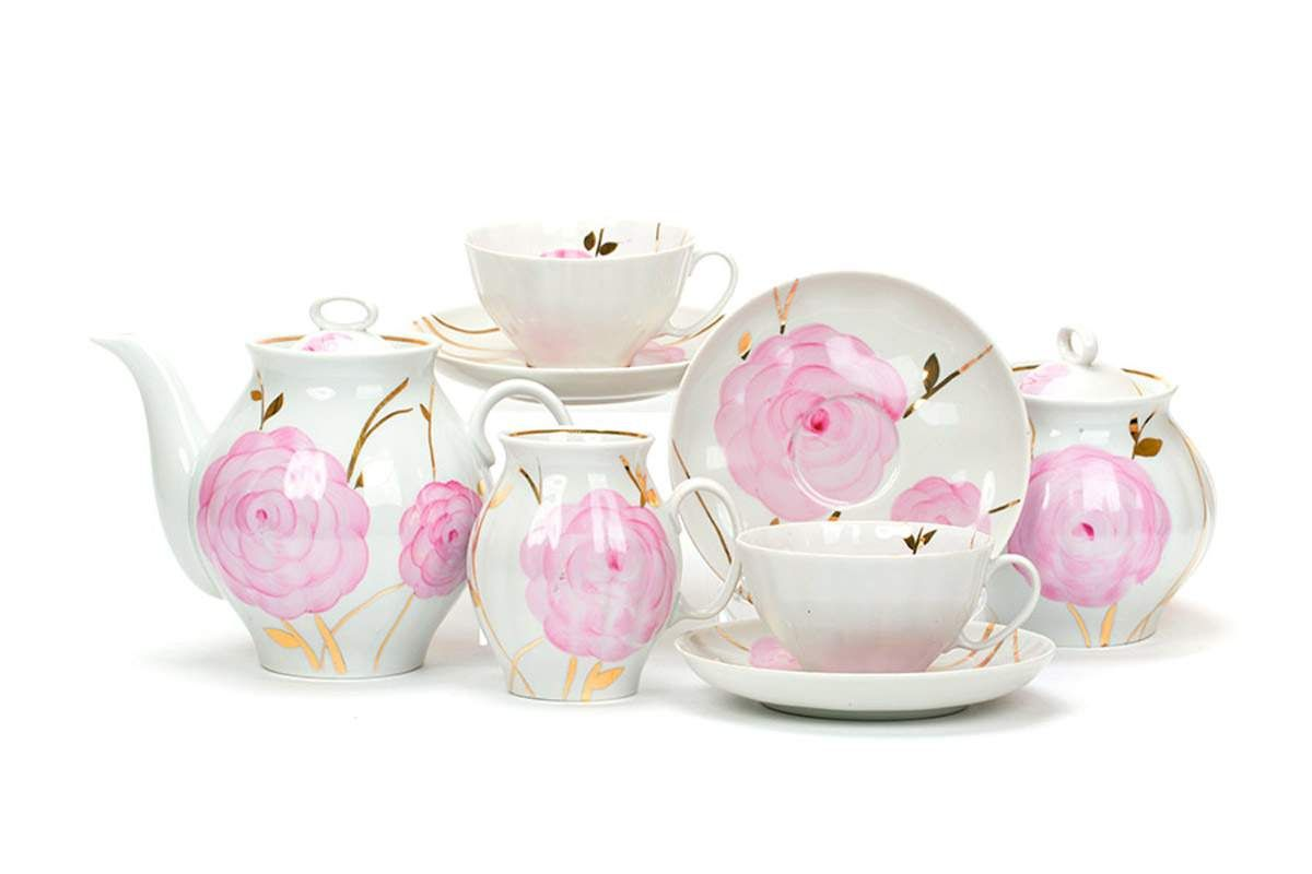 Dulevo porcelain / Tea set 15 pcs. Spring White Swan