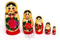 Russian woman - traditional nesting doll, 5 dolls