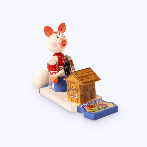 Bogorodsk toy / Wooden souvenir 'Piggy the builder'