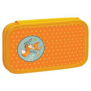INLANDIA pencil case, 2 compartments, cardboard, fabric, the end, 19х11 cm, Fox