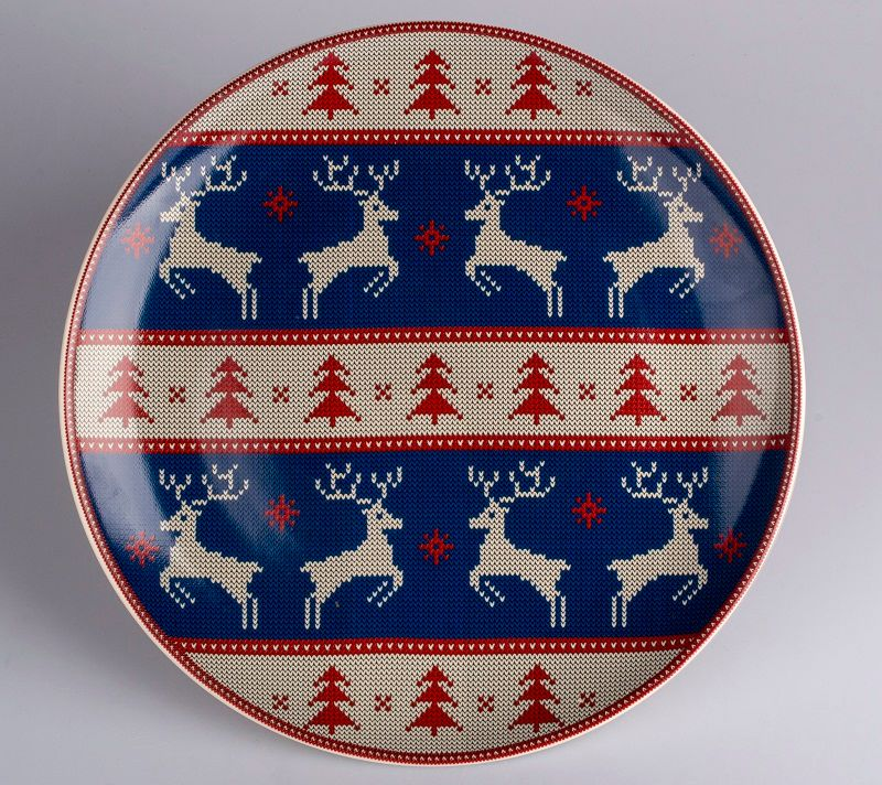 Dulevo porcelain / Plate 270 mm New Year (blue) (Ceramics)
