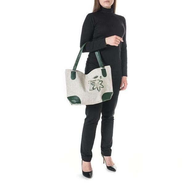 Linen bag Regina gray with silk embroidery
