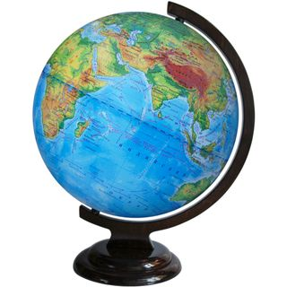 Physical globe with a diameter of 320 mm on wooden stand