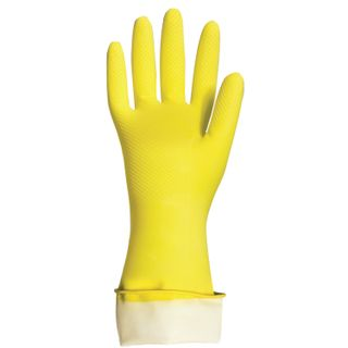 """LIME / Latex household gloves """"Premium"""", REUSABLE, cotton sputtering, super thick, L (large)"""