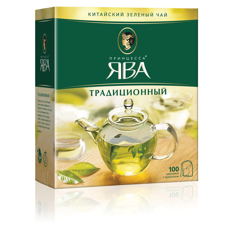 PRINCESS JAWA / Green tea, 100 sachets with tags 2 g each