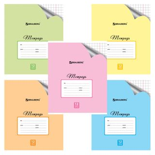 Notebook 12 sheets BRAUBERG ECO, large cage, offset cover, PASTEL WITH CORNER