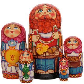 """Matryoshka author's """"Russian themes"""" 5 dolls"""
