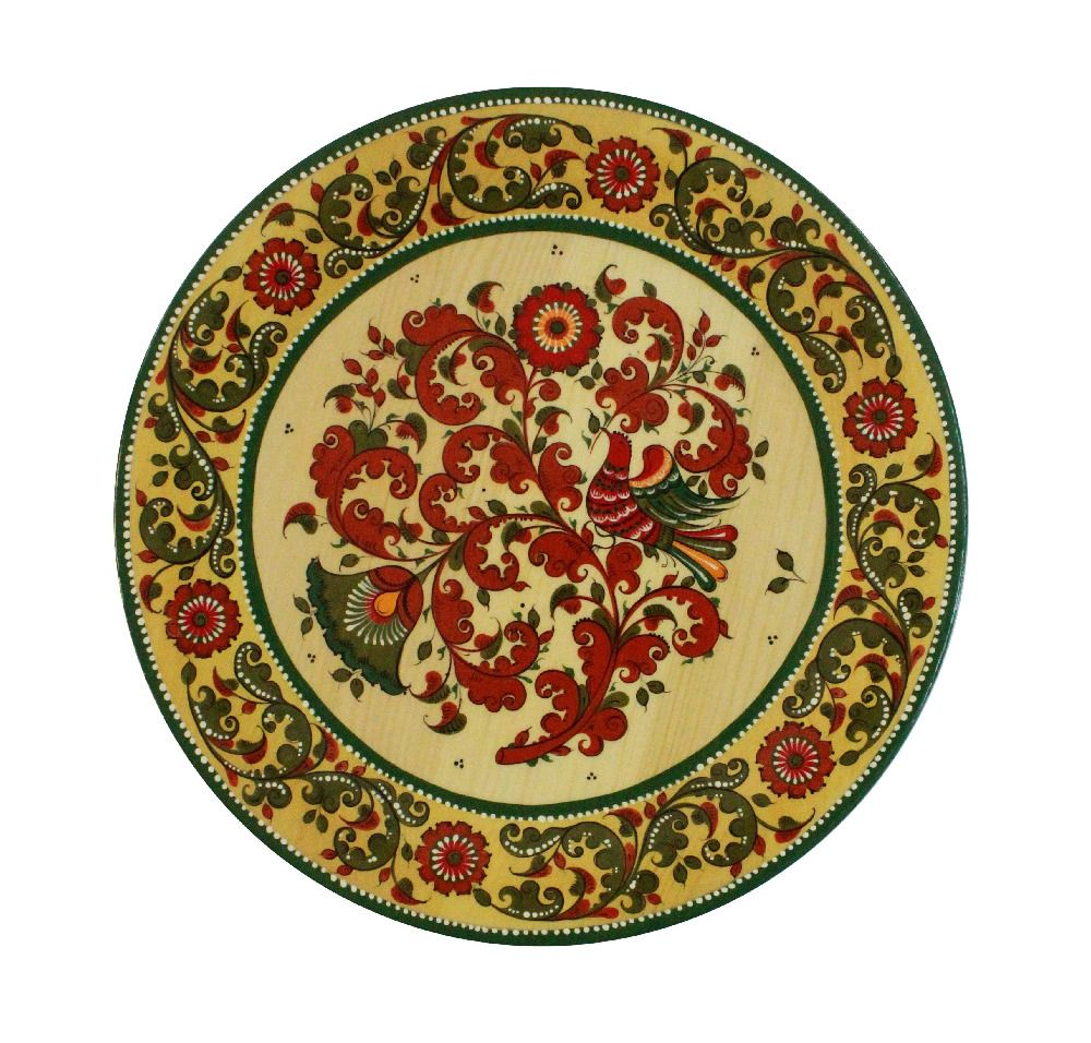 "Plate wooden ""Boretskaya painting"" 25 cm"