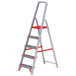 NEW HEIGHT / Aluminum step ladder 5 WIDE STEPS 13 cm, platform 1.1 m, load 225 kg, weight 5.1 kg