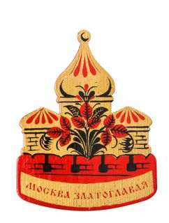 """Khokhloma painting / Wooden magnet """"Moscow gold-domed"""""""