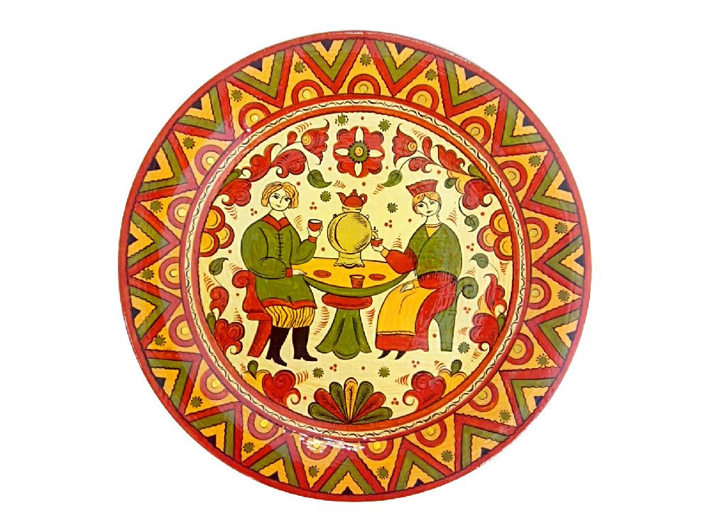 """Plate wooden """"Tea party"""" 25 cm"""