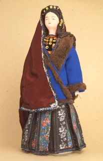 Doll gift porcelain. Women's traditional Tatar costume. Crimea. Russia. Late 19th - early 20th century.
