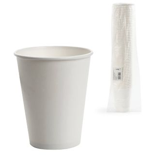 FORMATION / Disposable cups 300 ml, SET 50 pcs., Single-layer paper, white, cold / hot