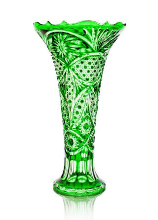"""Crystal vase for flowers """"Peterhof"""" large green"""
