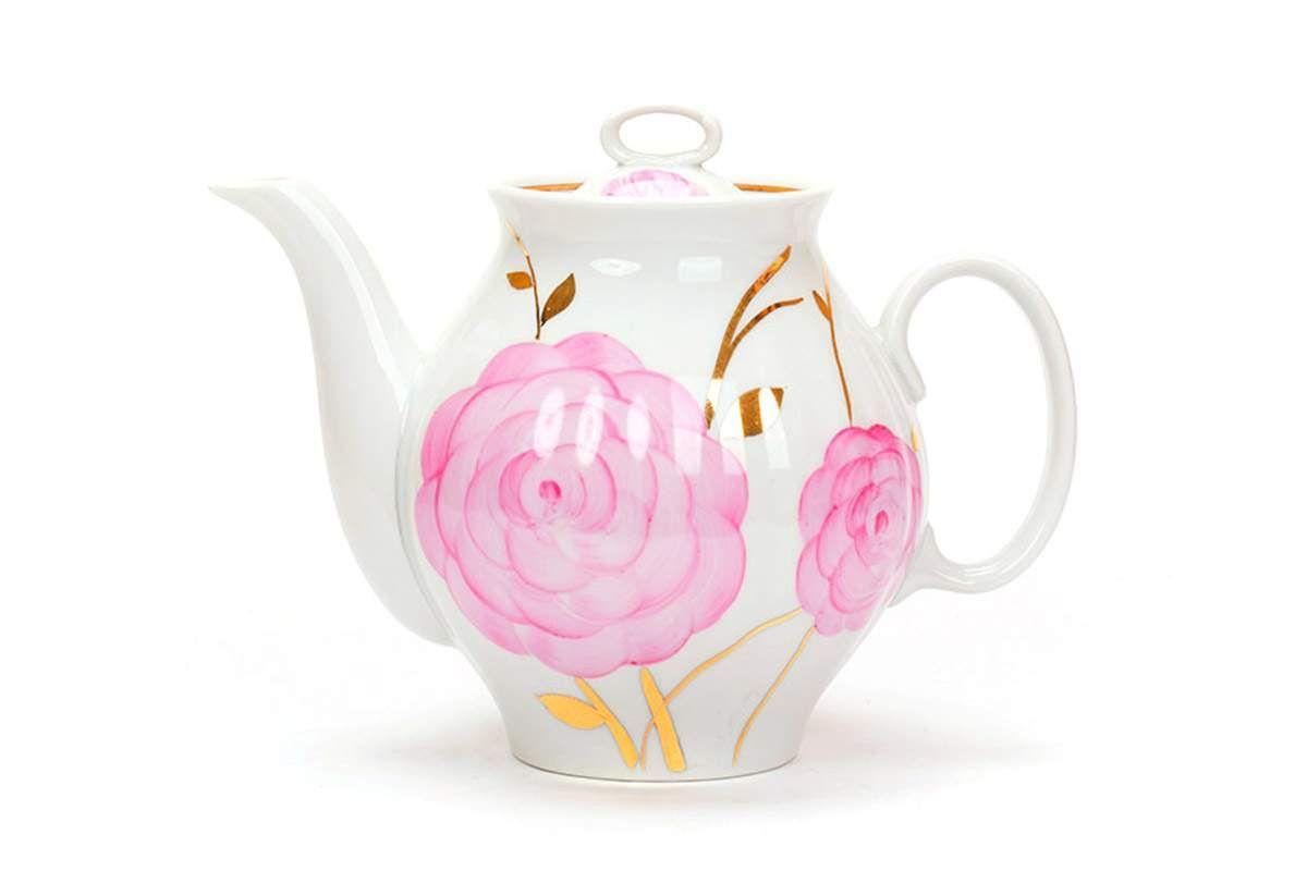 Dulevo porcelain / Teapot 1000 ml White Swan Spring