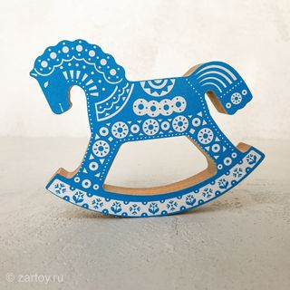 Konik-rocking chair blue with ornament