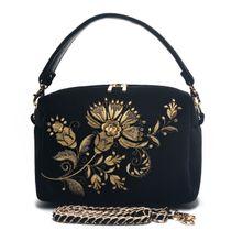 Velvet bag 'Portobello' in black with gold embroidery