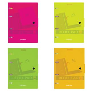 Notebook on A5 rings (147 x205 mm), 80 sheets, plastic, cage, on the button, ERICH KRAUSE,