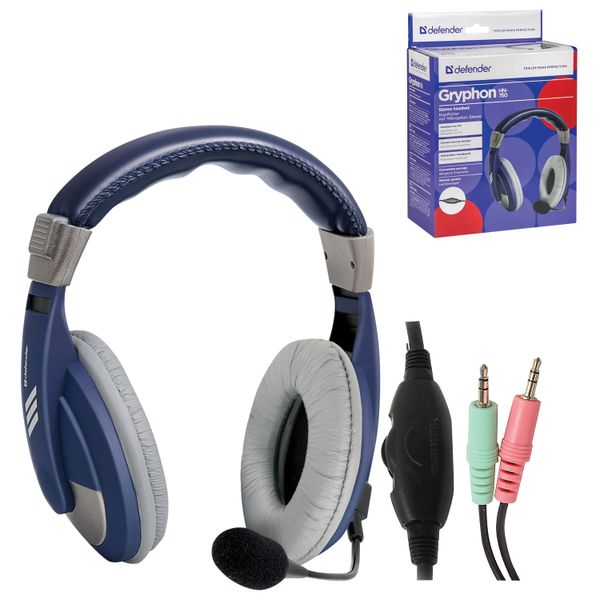 DEFENDER / Headphones with microphone (headset) Gryphon HN-750, wired, 2 m, blue