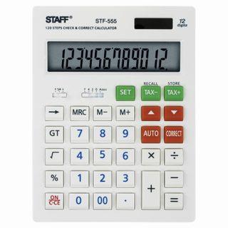 Desktop calculator STAFF STF-555-WHITE (205х154 mm), CORRECT, TAX, 12 digits, dual power supply