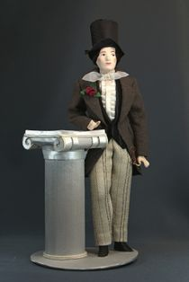 Doll gift porcelain. England. Dandy. The secular male costume. 1st half of the 19th century.