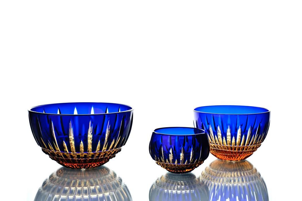 """Crystal vase for table """"Eugene"""" small blue with amber edge"""