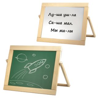 The double-sided chalk Board and magnetic marker (33х44 cm) table, Rus/eng letters, wood frame, No. 10, 10 KINGDOM