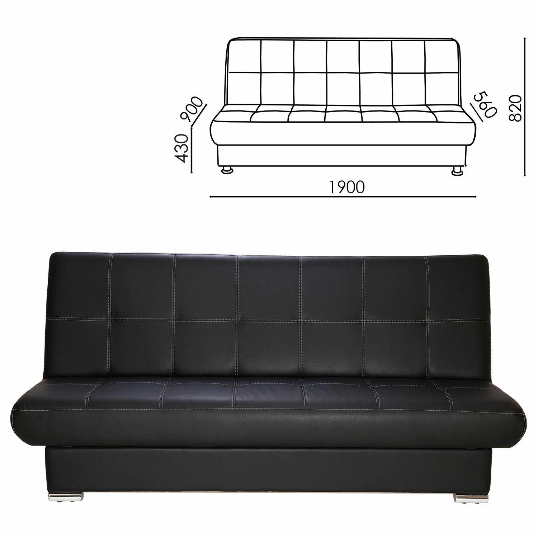 "RAMART / Soft folding sofa ""Modesto"", 1900х900х820 mm, eco-leather, black"