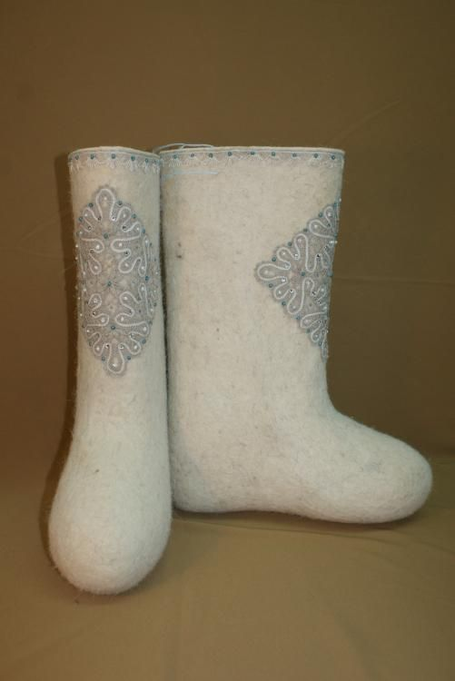 Boots decorated with beads and rhinestones