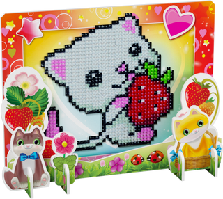 3D puzzle with diamond mosaic: Kitty with strawberries