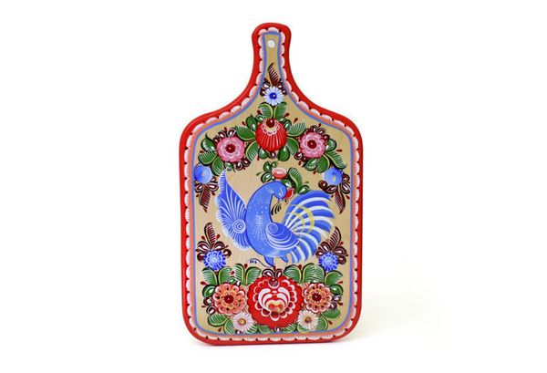 """Gorodets painting / Painted kitchen board """"Bird"""""""
