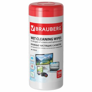 BRAUBERG / Napkins for screens of all types and optics 13x17 cm, tube 100 pcs., Wet
